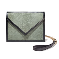BLACKSEA  Greenwich Clutch Green Nubuck Embossed
