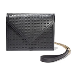 BLACKSEA Greenwich Clutch Black Laser Cut Leather